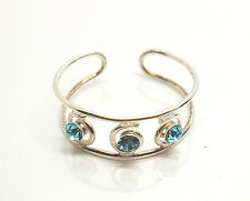 New Double Layer Wire Tripple Aqua CZ Gem Sterling Silver Swirl Finger Open Ring