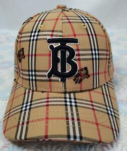 Men Women Burberry TB Check Baseball Golf Hat Adjustable Cap Brown NWT