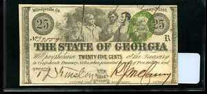 1863 25C Georgia State Fractional Confederate Currency Milledgeville 22550