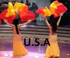 Belly Dance Silk Fan Veils 100% 1.8m Top Quality USA Store Quick Shipping