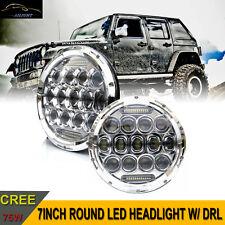 2x7'' Round Chrome Led Headlight DRL Hi/Lo Beam For Jeep Wrangler JK TJ CJ LJ H1