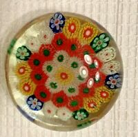 Vintage Art Glass- Murano Millefiori  Flowers  Paperweight