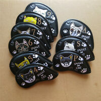 9pcs Embroidery Cat Golf Iron Covers Iron Headcover Set for Taylormade Callaway
