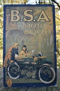 "Vintage BSA Motor Bike Motorcycle Dealer Advertising Poster Sign 25"" x 16"""