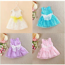 Girls Dress Vintage Lace Bow Party Birthday Dress 1-7 years Cotton Top Quality