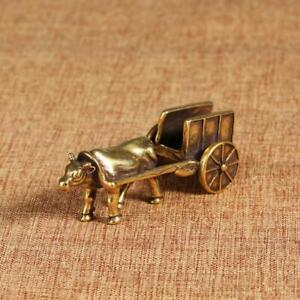 Solid Brass Cow cart Figurines Cow Statue House Decoration Animal figurine