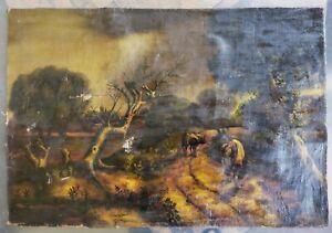 Huile sur toile ancienne sans chassis paysage animé scène bucolique 72x49 cm
