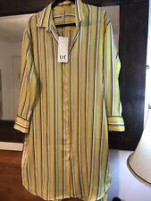 New Zara Yellow Stripe Silky Split Side Long Shirt Dress Tunic Top size 10 12 M
