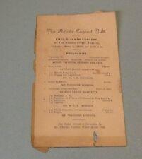 1889 Artists Concert Club Program Chicago Madison Street Theatre Eddy Ladies