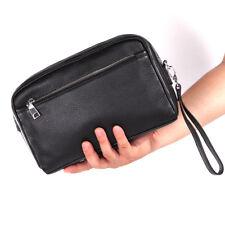 Black Mens Genuine Leather Shoulder Messenger Bag Wrist Clutch Business Handbag