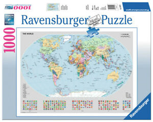 Ravensburger Jigsaw Puzzle 1000pc - Political World Map - 15652-8 Authentic New