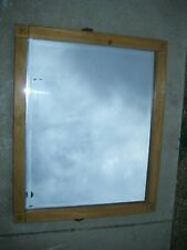 """Rare May Large Square 33 1/8"""" x 27 1/4"""" Beveled Wall Mirror Antique Wood Frame"""
