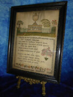 Antique SAMPLER Memorial to George Cook died 1834 by his wife Framed under glass