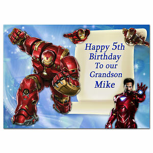 678; Special Personalised Birthday card; Super hero, Iron man, Avengers; any age