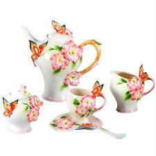 16PC Ceramic New Pink Butterfly Coffee&Tea Milk Set Creamer Sugar Pot Cup Saucer