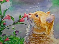 Watercolor Painting Cat Sniffing Red Flowers Kitten Pet Animals ACEO Art