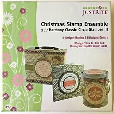 "JustRite Christmas Stamp Ensemble-6 borders/6 centers-Fits 3-1/4"" Stamper - NEW"