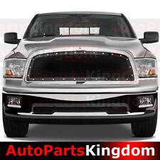 09-12 DODGE RAM 1500 Truck Front Hood Gloss Black Mesh Grille+Rivet+Chrome Shell
