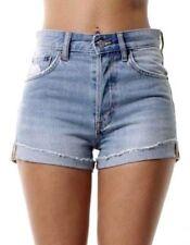 WOMENs Ladies Mid WAISTED SHORTS Jeans Denim Hot Pants UK 6 8 10 12 14 16