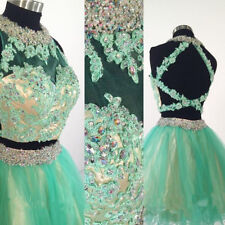 Two Pieces Mint Green Short Party Cocktail Dress Short Prom Dress with Lace