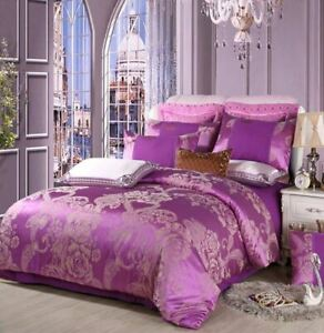 4pc. Luxury Palace Crown Purple Tribute Silk Twin Queen King Duvet Cover Set