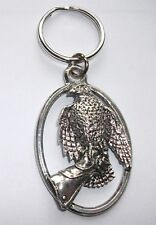 HAWK on glove PEWTER KEY RING, ideal for Keys, Bags, Collectables (XTSBKKB31)