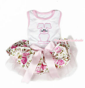 Easter Rabbit White Sleeveless Light Pink Floral Rose Skirt Dog Dress Pet Outfit