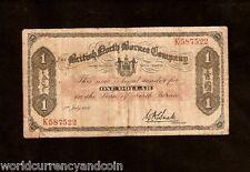 BRITISH NORTH BORNEO 1 DOLLAR P29 1940 KINABALU RARE MONEY SARAWAK MALAYSIA NOTE