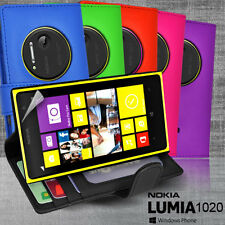 5 Colour Side ID Wallet Leather Case Cover for Nokia Lumia 1020 + Screen Guard