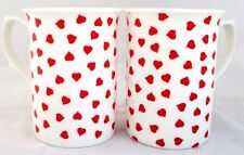 Tazas Corazones Amor Juego De 4 Tazas De Porcelana China. corazones rojos decorado a mano en el Reino Unido.
