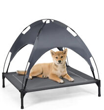 Elevated Dog Bed With Removable Canopy, Portable Raised Pet Cot Cooling Dog Bed