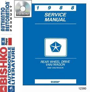 1988 Dodge B Van Shop Service Repair Manual CD Engine Drivetrain Wiring OEM
