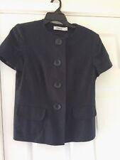 M&Co Smart Short Spring Short Sleeve Blue Linen Blend Jacket Size 12