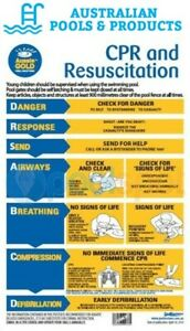 Pool Safety CPR & Resuscitation PVC Sign SPASA approved  First Aid CPR Sign