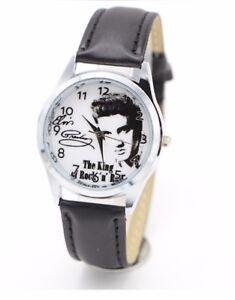 Elvis Presley Leather Strap Wristwatch Wrist Watch Analogue Quartz Round Dial UK