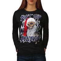 Wellcoda Santa Skull Fun Christmas Womens Long Sleeve T-shirt,  Casual Design