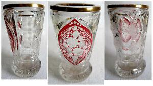 originaler alter Becher Pokal geschliffene Blumen in Rot Goldrand Glas Kristall