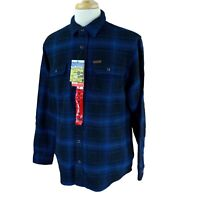 Orvis Men's Big Bear Heavy Double Brushed Flannel Blue Plaid NWT Shirt Medium