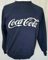 Vintage Mens Coca-Cola Sweatshirt 80's Long Sleeve MADE IN USA Navy Blue Large