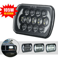 105W Osram 7x6'' LED Headlight Hi-Lo Beam White Angel Eyes Halo DRL For Jeep XJ