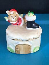 Vintage Homco Home Interior Porcelain Trinket Box Christmas Bear Skating #8904