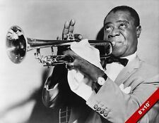 SATCHMO JAZZ MUSIC LEGEND LOUIS ARMSTRONG & TRUMPET PHOTO ART REAL CANVAS PRINT