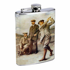 Vintage Golf D6 8oz Hip Flask Stainless Steel Sports Pro Golfer Hobby