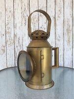 Iron Railway Train Lantern ~ Antique Finish ~ Locomotive Engine Oil Lamp Light