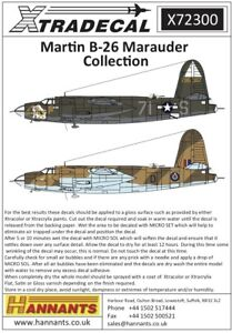 X72300 NEW Xtradecal 1:72 Martin B-26 Marauder Collection - 7 Markings Options