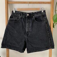Zara Womens Faded Black Wash Retro Style High Waisted Denim Shorts Size US 6
