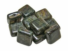 11mm Root Beer Amber Picasso Czech Glass Flat Square Beads (10) #2570