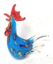 Art Glass Rooster Hand Blown Sculpture Statue Chicken  Bird Blue Home Decor