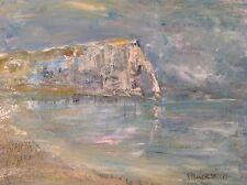 PREM DEVAKA  Marine impressionnisme ETRETAT Grande Huile sur toile signée c1998
