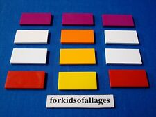 12 Lego 2x4 Finishing Tiles/Plates Smooth Parts Lot B Magenta White Red Orange+